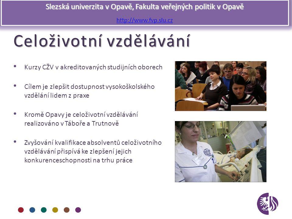 Slezská univerzita v Opavě, Fakulta veřejných politik v Opavě http://www.fvp.slu.cz Celoživotní vzdělávání Kurzy CŽV v akreditovaných studijních obore