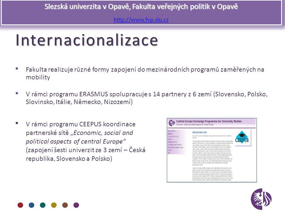 Slezská univerzita v Opavě, Fakulta veřejných politik v Opavě http://www.fvp.slu.czInternacionalizace Fakulta realizuje různé formy zapojení do meziná