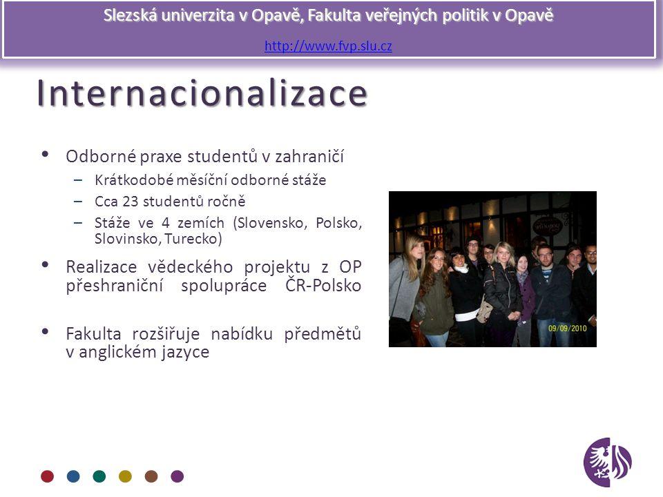 Slezská univerzita v Opavě, Fakulta veřejných politik v Opavě http://www.fvp.slu.czInternacionalizace Odborné praxe studentů v zahraničí –Krátkodobé m