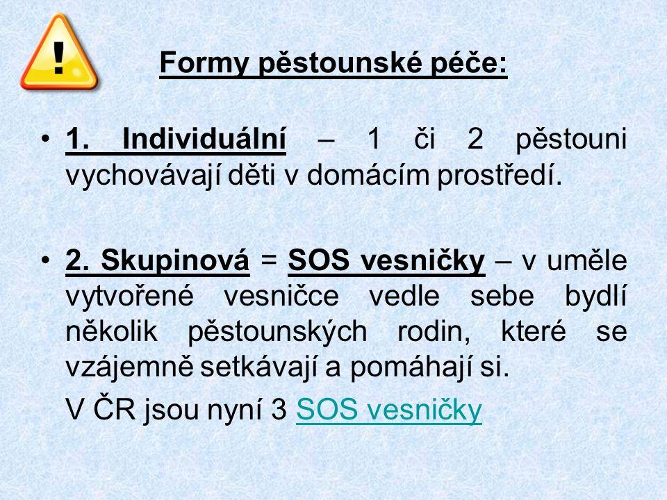 Formy pěstounské péče: 1. Individuální – 1 či 2 pěstouni vychovávají děti v domácím prostředí.
