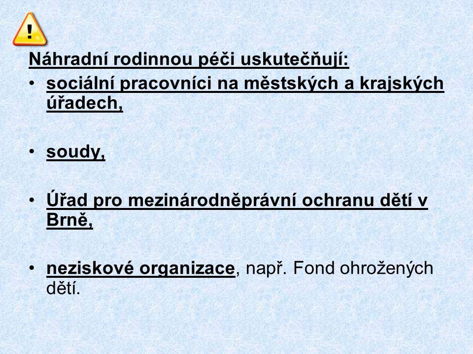 Náhradní rodinnou péči uskutečňují: sociální pracovníci na městských a krajských úřadech, soudy, Úřad pro mezinárodněprávní ochranu dětí v Brně, neziskové organizace, např.