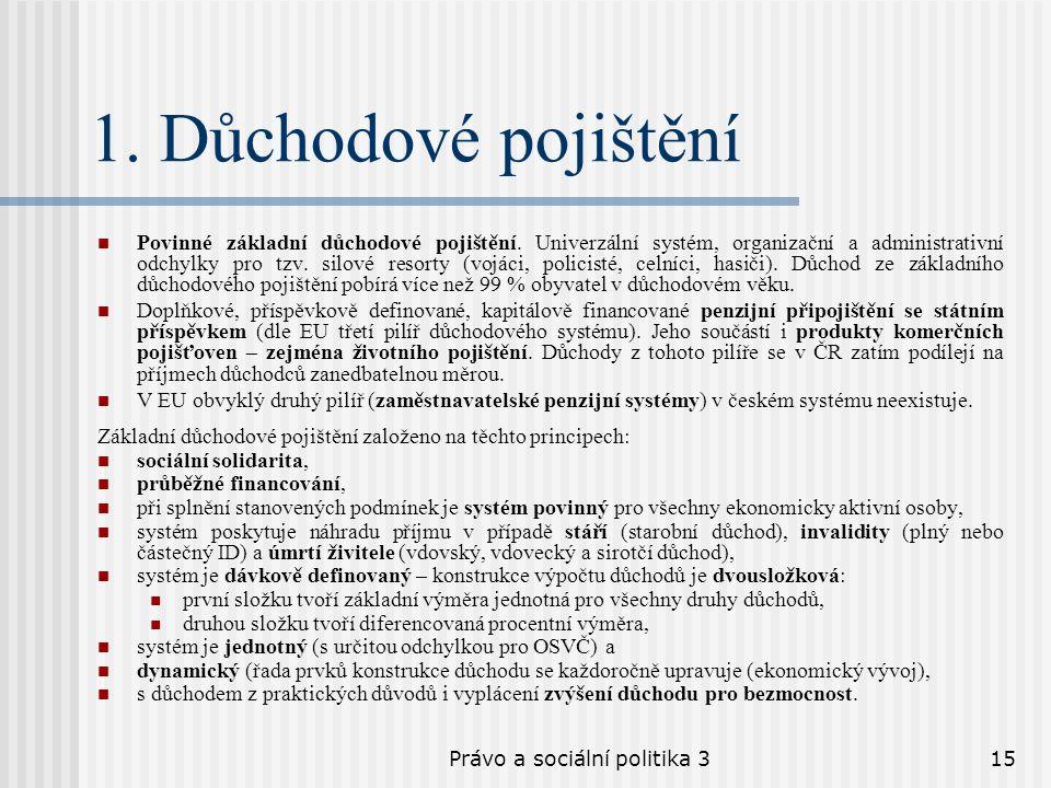 Právo a sociální politika 315 1. Důchodové pojištění Povinné základní důchodové pojištění. Univerzální systém, organizační a administrativní odchylky