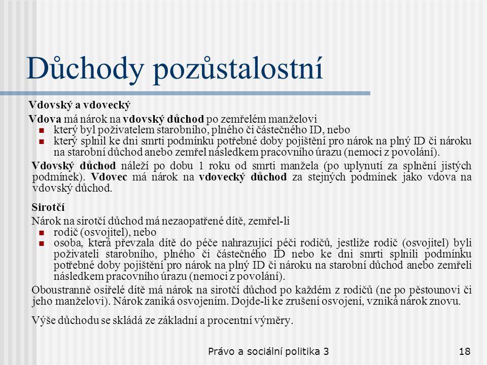 Právo a sociální politika 318 Důchody pozůstalostní Vdovský a vdovecký Vdova má nárok na vdovský důchod po zemřelém manželovi který byl poživatelem st