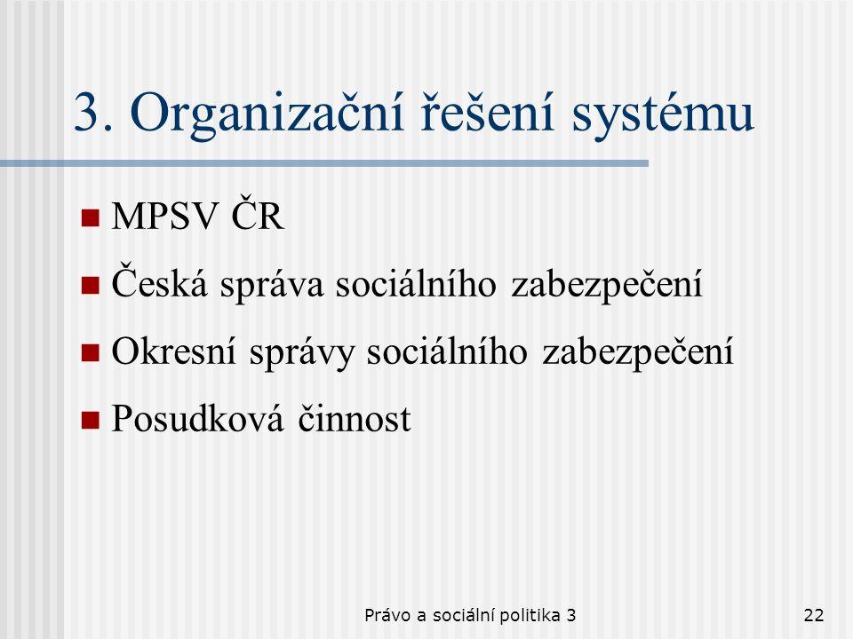 Právo a sociální politika 322 3. Organizační řešení systému MPSV ČR Česká správa sociálního zabezpečení Okresní správy sociálního zabezpečení Posudkov