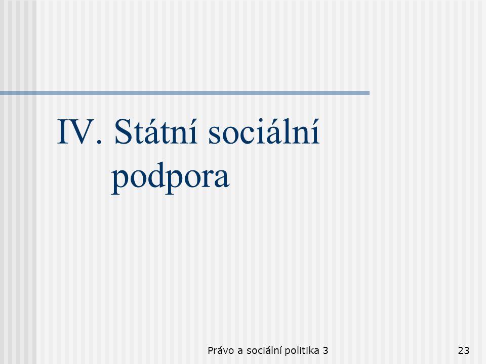 Právo a sociální politika 323 IV. Státní sociální podpora
