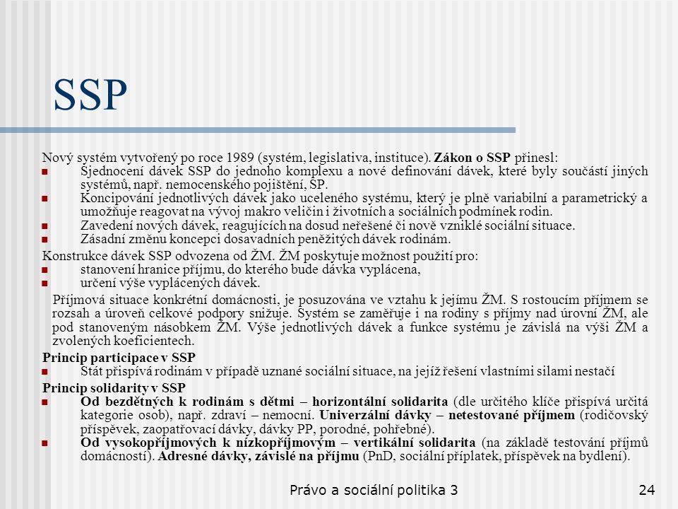 Právo a sociální politika 324 SSP Nový systém vytvořený po roce 1989 (systém, legislativa, instituce). Zákon o SSP přinesl: Sjednocení dávek SSP do je