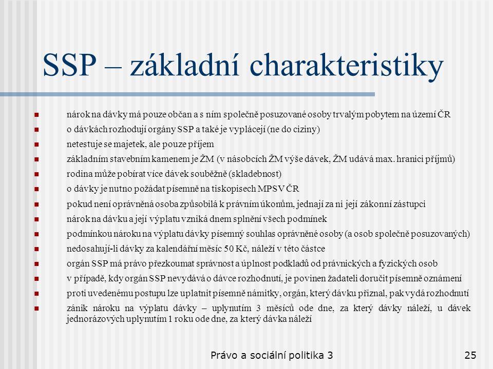 Právo a sociální politika 325 SSP – základní charakteristiky nárok na dávky má pouze občan a s ním společně posuzované osoby trvalým pobytem na území