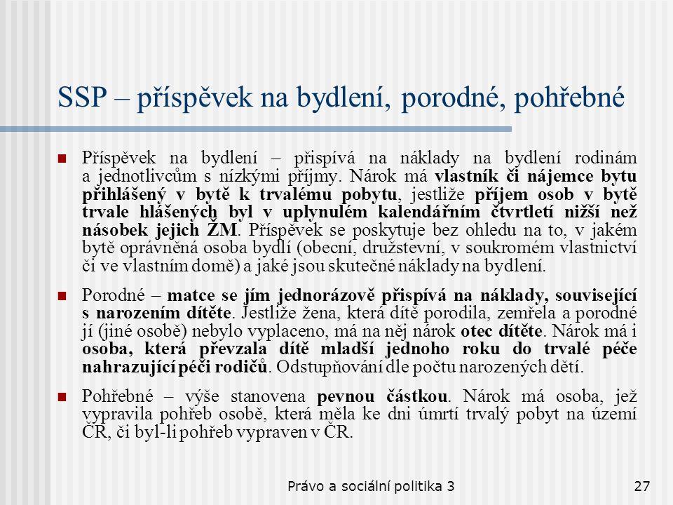 Právo a sociální politika 327 SSP – příspěvek na bydlení, porodné, pohřebné Příspěvek na bydlení – přispívá na náklady na bydlení rodinám a jednotlivc