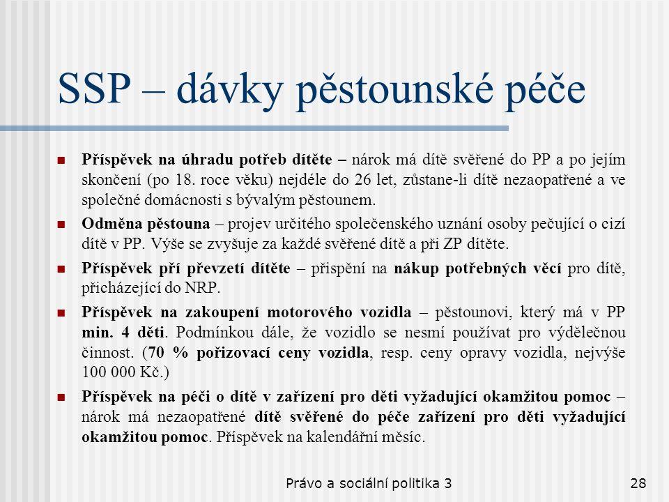 Právo a sociální politika 328 SSP – dávky pěstounské péče Příspěvek na úhradu potřeb dítěte – nárok má dítě svěřené do PP a po jejím skončení (po 18.