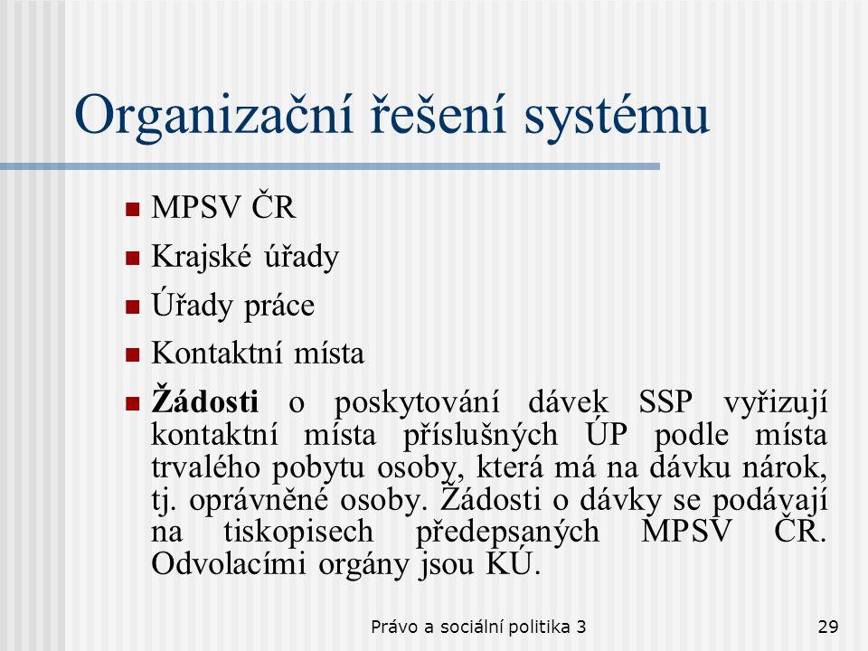 Právo a sociální politika 329 Organizační řešení systému MPSV ČR Krajské úřady Úřady práce Kontaktní místa Žádosti o poskytování dávek SSP vyřizují ko