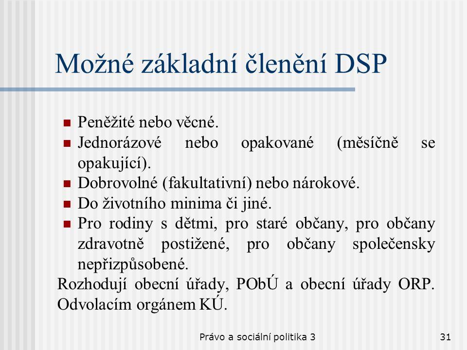 Právo a sociální politika 331 Možné základní členění DSP Peněžité nebo věcné. Jednorázové nebo opakované (měsíčně se opakující). Dobrovolné (fakultati