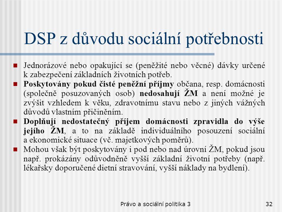 Právo a sociální politika 332 DSP z důvodu sociální potřebnosti Jednorázové nebo opakující se (peněžité nebo věcné) dávky určené k zabezpečení základn
