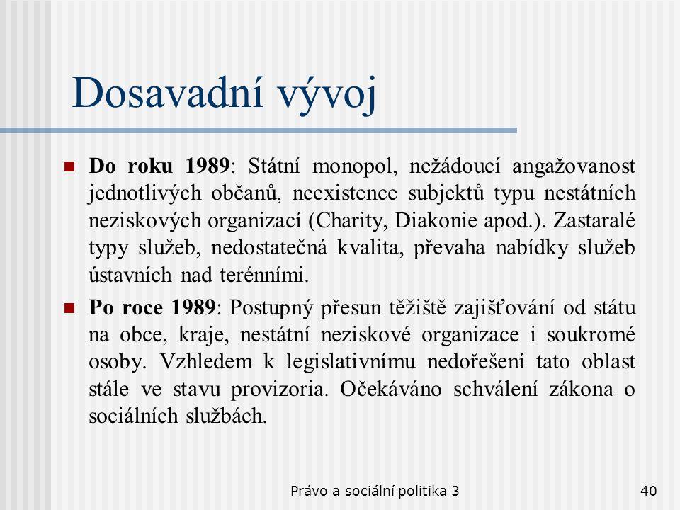 Právo a sociální politika 340 Dosavadní vývoj Do roku 1989: Státní monopol, nežádoucí angažovanost jednotlivých občanů, neexistence subjektů typu nest