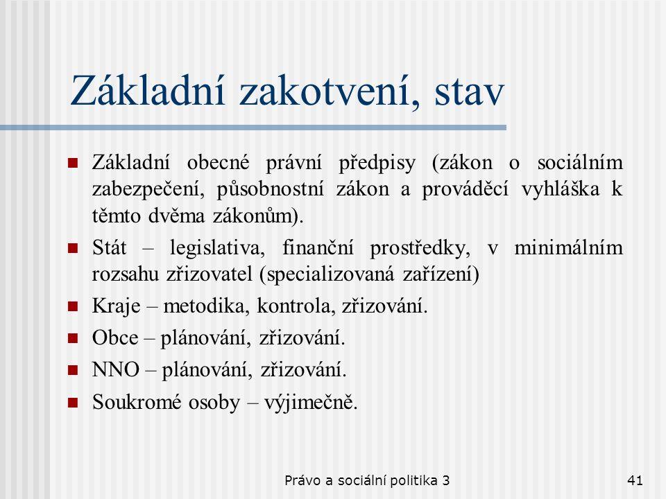 Právo a sociální politika 341 Základní zakotvení, stav Základní obecné právní předpisy (zákon o sociálním zabezpečení, působnostní zákon a prováděcí v