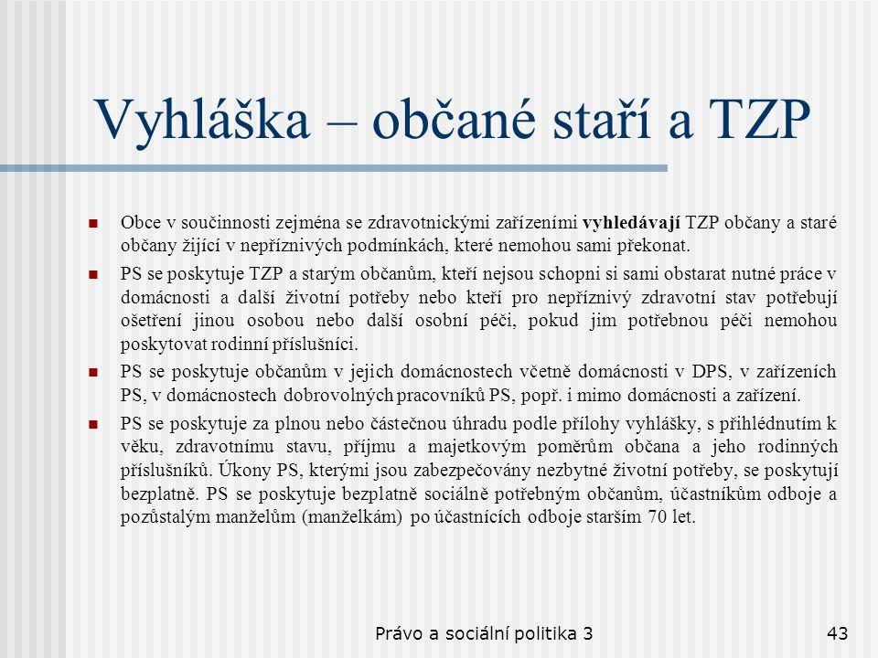 Právo a sociální politika 343 Vyhláška – občané staří a TZP Obce v součinnosti zejména se zdravotnickými zařízeními vyhledávají TZP občany a staré obč