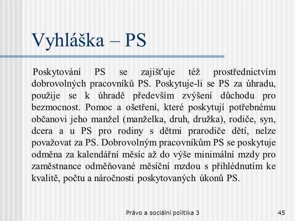 Právo a sociální politika 345 Vyhláška – PS Poskytování PS se zajišťuje též prostřednictvím dobrovolných pracovníků PS. Poskytuje-li se PS za úhradu,