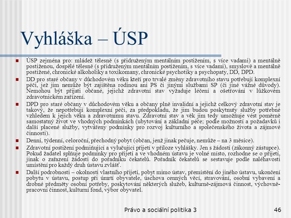 Právo a sociální politika 346 Vyhláška – ÚSP ÚSP zejména pro: mládež tělesně (s přidruženým mentálním postižením, s více vadami) a mentálně postiženou