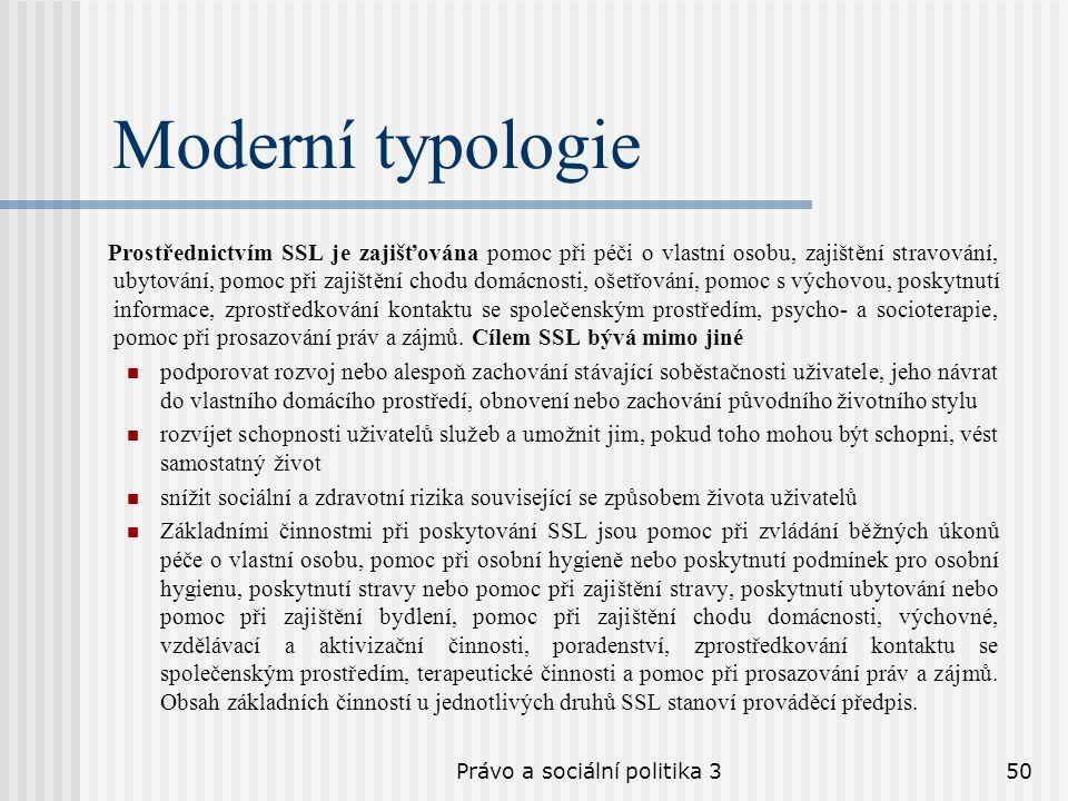 Právo a sociální politika 350 Moderní typologie Prostřednictvím SSL je zajišťována pomoc při péči o vlastní osobu, zajištění stravování, ubytování, po
