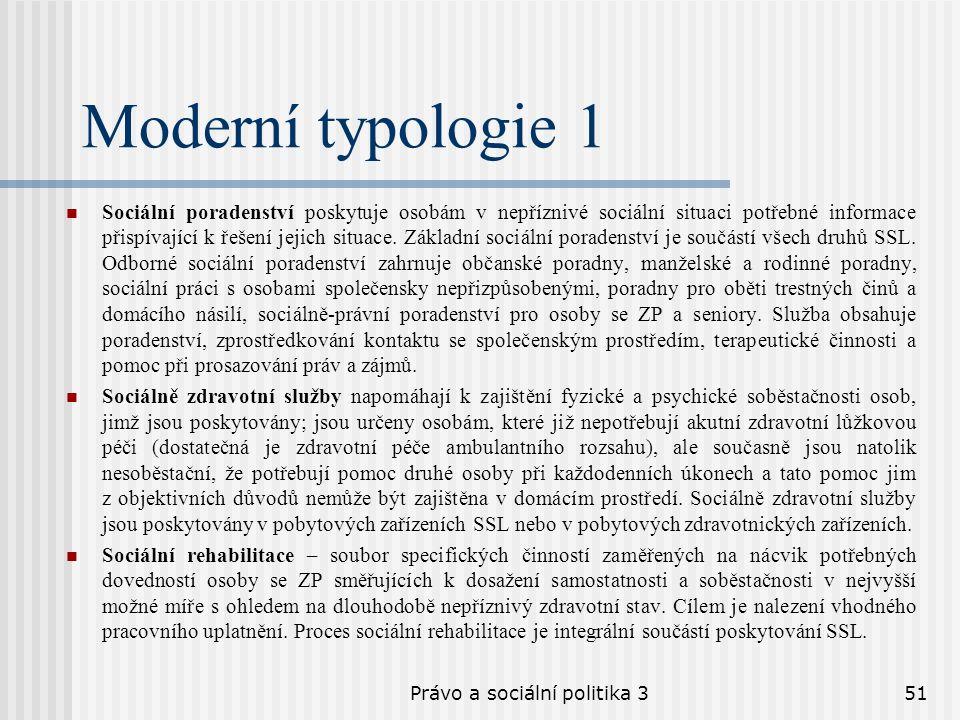 Právo a sociální politika 351 Moderní typologie 1 Sociální poradenství poskytuje osobám v nepříznivé sociální situaci potřebné informace přispívající
