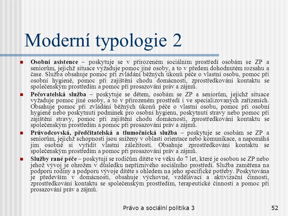 Právo a sociální politika 352 Moderní typologie 2 Osobní asistence – poskytuje se v přirozeném sociálním prostředí osobám se ZP a seniorům, jejichž si