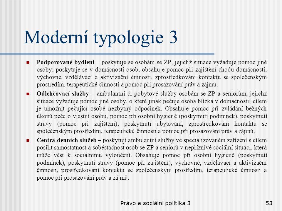 Právo a sociální politika 353 Moderní typologie 3 Podporované bydlení – poskytuje se osobám se ZP, jejichž situace vyžaduje pomoc jiné osoby; poskytuj