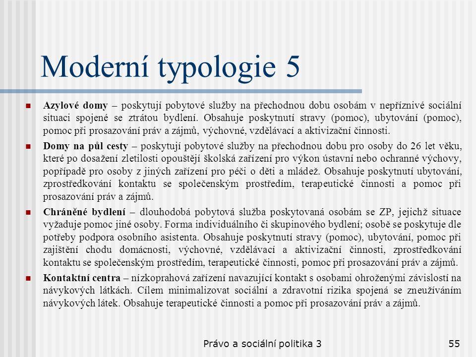 Právo a sociální politika 355 Moderní typologie 5 Azylové domy – poskytují pobytové služby na přechodnou dobu osobám v nepříznivé sociální situaci spo