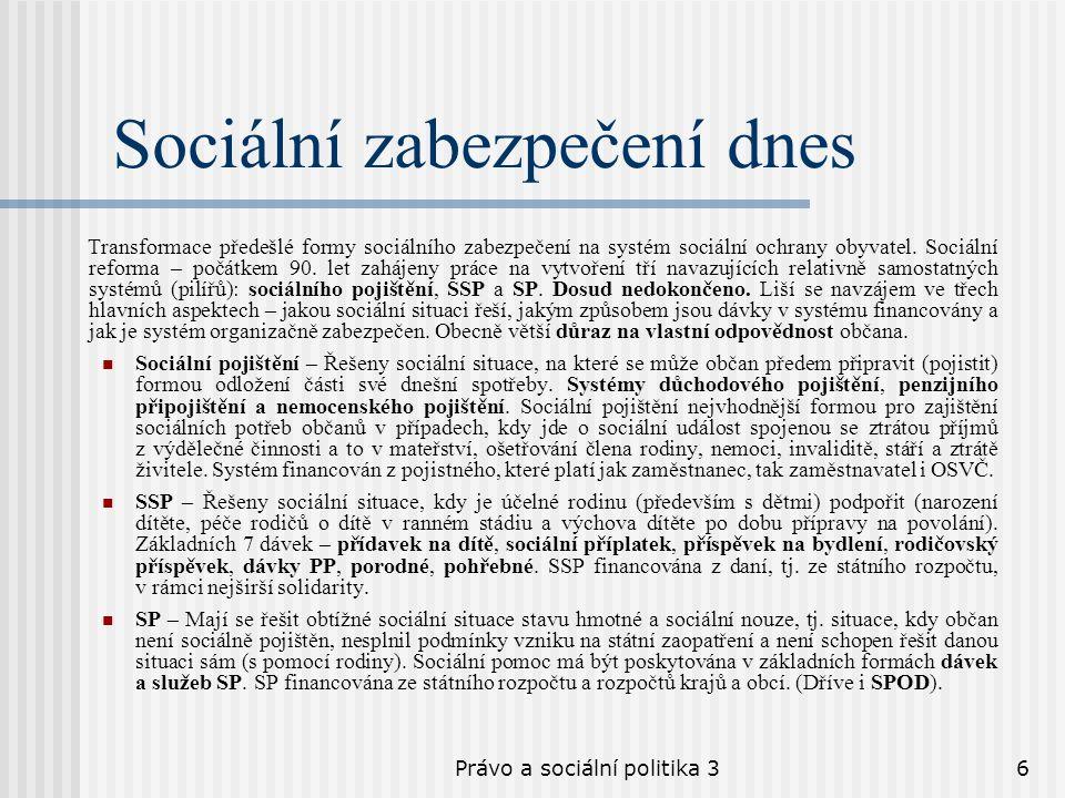 Právo a sociální politika 36 Sociální zabezpečení dnes Transformace předešlé formy sociálního zabezpečení na systém sociální ochrany obyvatel. Sociáln
