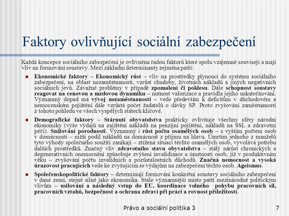 Právo a sociální politika 37 Faktory ovlivňující sociální zabezpečení Každá koncepce sociálního zabezpečení je ovlivněna řadou faktorů které spolu vzá