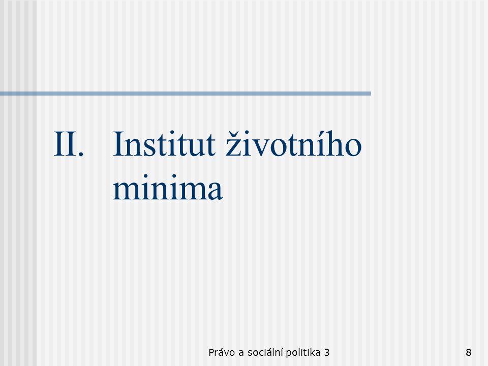 Právo a sociální politika 38 II.Institut životního minima