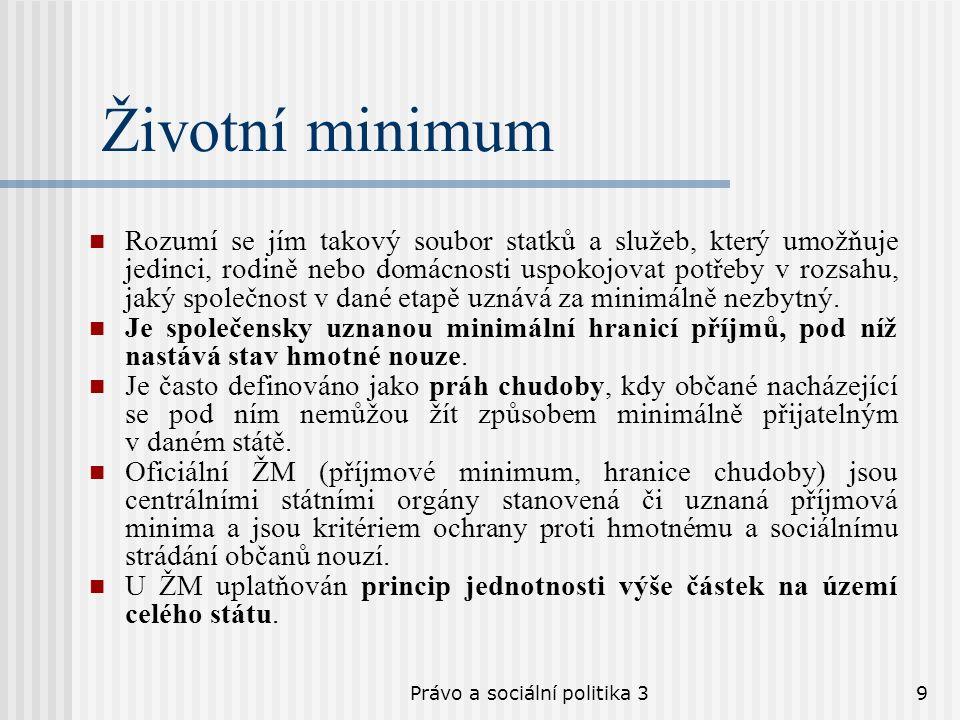 Právo a sociální politika 39 Životní minimum Rozumí se jím takový soubor statků a služeb, který umožňuje jedinci, rodině nebo domácnosti uspokojovat p