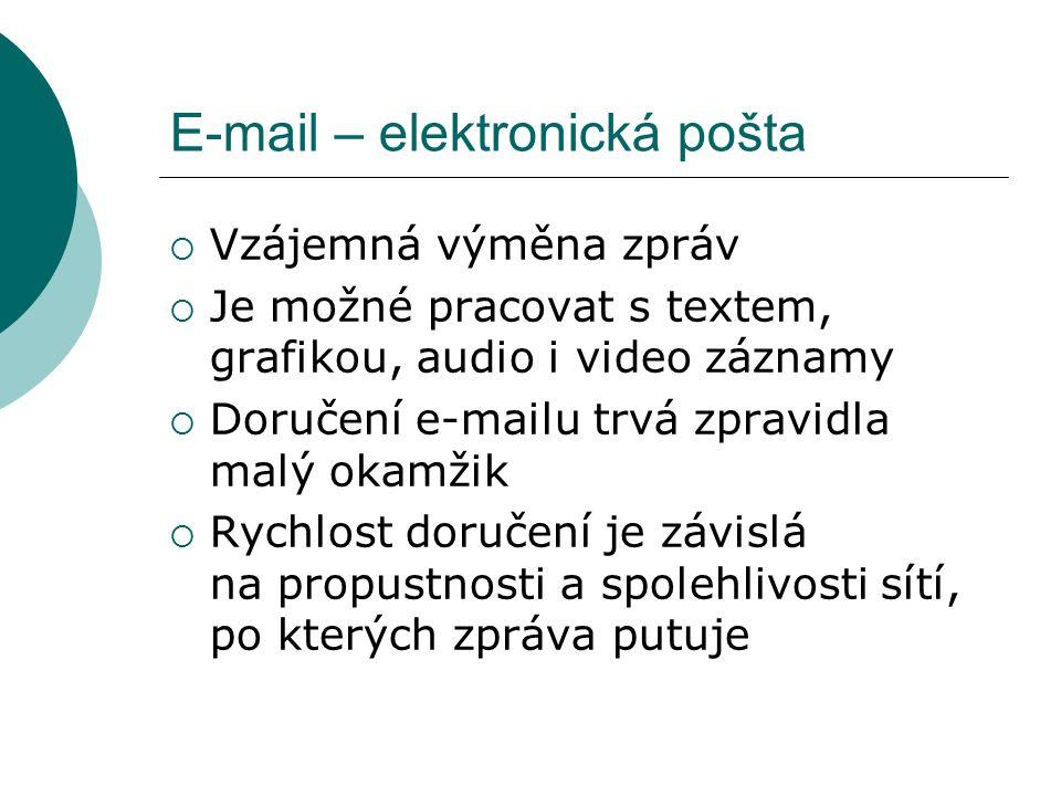 E-mail – elektronická pošta  Vzájemná výměna zpráv  Je možné pracovat s textem, grafikou, audio i video záznamy  Doručení e-mailu trvá zpravidla malý okamžik  Rychlost doručení je závislá na propustnosti a spolehlivosti sítí, po kterých zpráva putuje