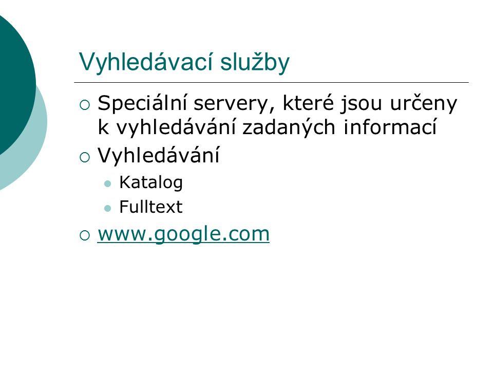 Vyhledávací služby  Speciální servery, které jsou určeny k vyhledávání zadaných informací  Vyhledávání Katalog Fulltext  www.google.com www.google.com
