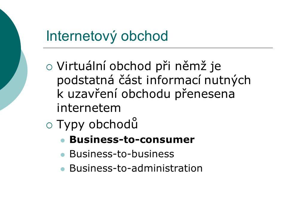 Internetový obchod  Virtuální obchod při němž je podstatná část informací nutných k uzavření obchodu přenesena internetem  Typy obchodů Business-to-consumer Business-to-business Business-to-administration