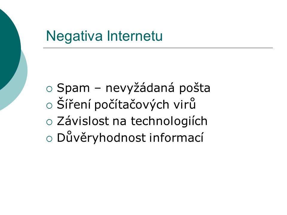 Negativa Internetu  Spam – nevyžádaná pošta  Šíření počítačových virů  Závislost na technologiích  Důvěryhodnost informací