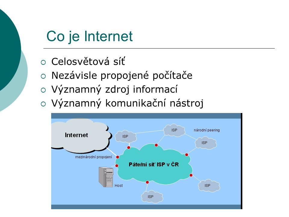 Co je Internet  Celosvětová síť  Nezávisle propojené počítače  Významný zdroj informací  Významný komunikační nástroj