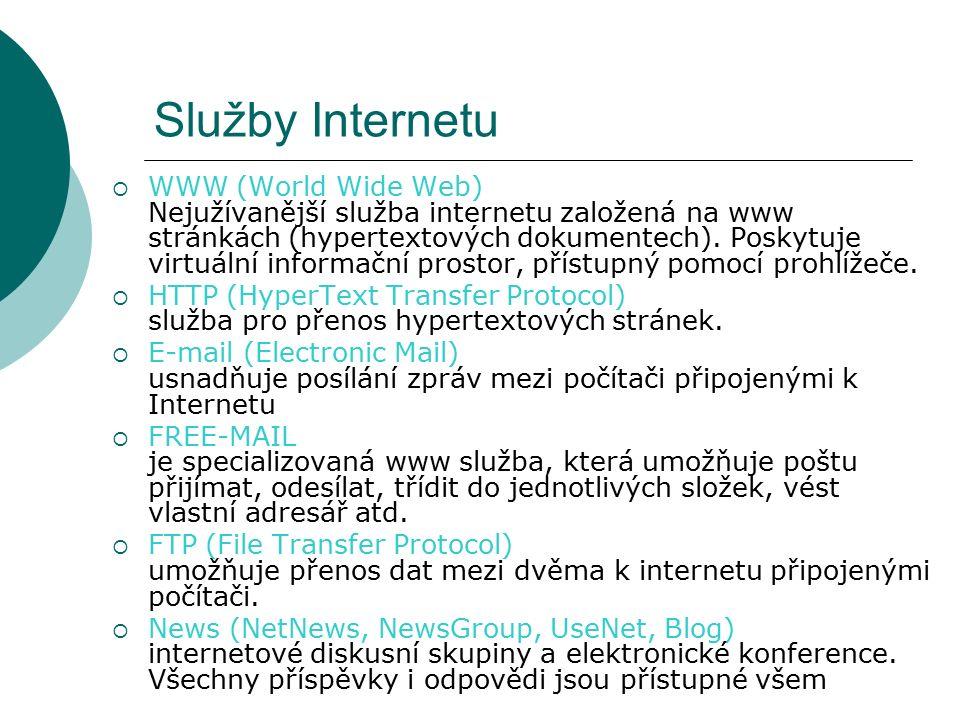 Služby Internetu  WWW (World Wide Web) Nejužívanější služba internetu založená na www stránkách (hypertextových dokumentech).