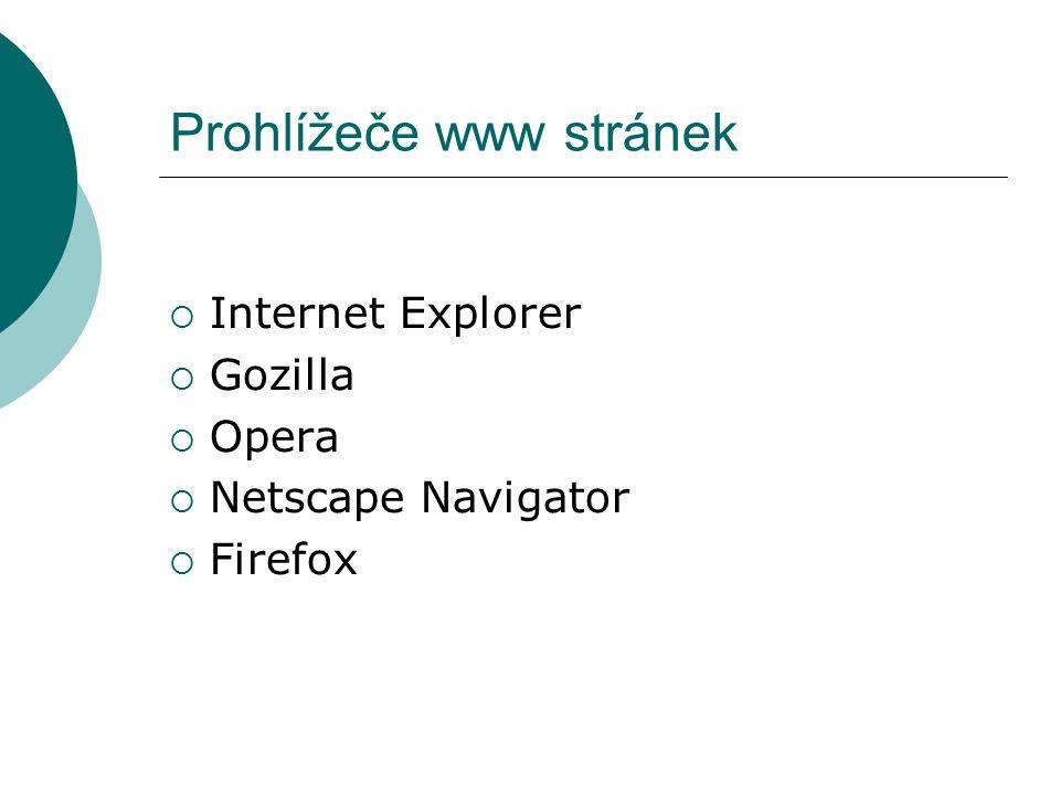 Prohlížeče www stránek  Internet Explorer  Gozilla  Opera  Netscape Navigator  Firefox