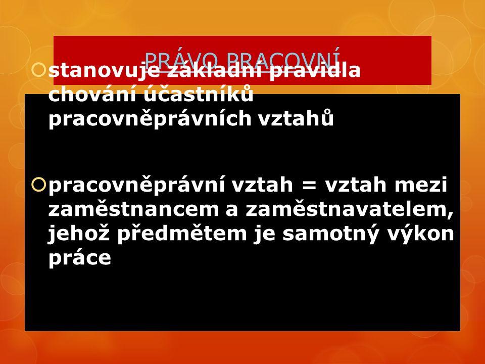 PRÁVNÍ ÚPRAVA ZÁKON Č.262/2006 Sb., ZÁKONÍK PRÁCE ZÁKON Č.