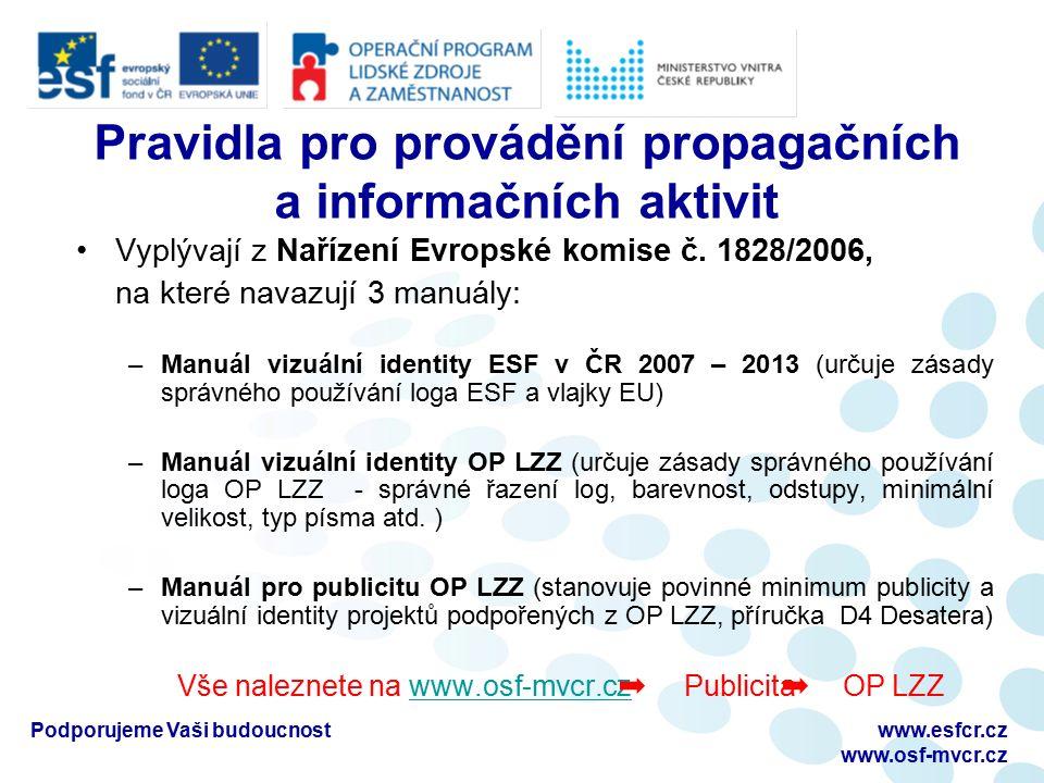 Podporujeme Vaši budoucnostwww.esfcr.cz www.osf-mvcr.cz Pravidla pro provádění propagačních a informačních aktivit Vyplývají z Nařízení Evropské komise č.