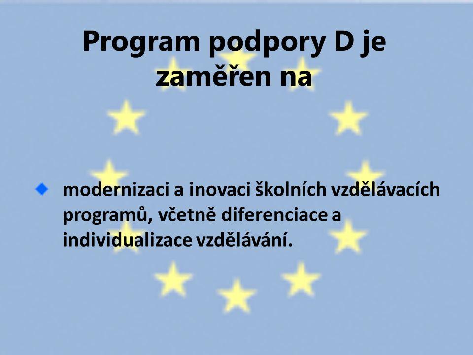 Program podpory D je zaměřen na modernizaci a inovaci školních vzdělávacích programů, včetně diferenciace a individualizace vzdělávání.