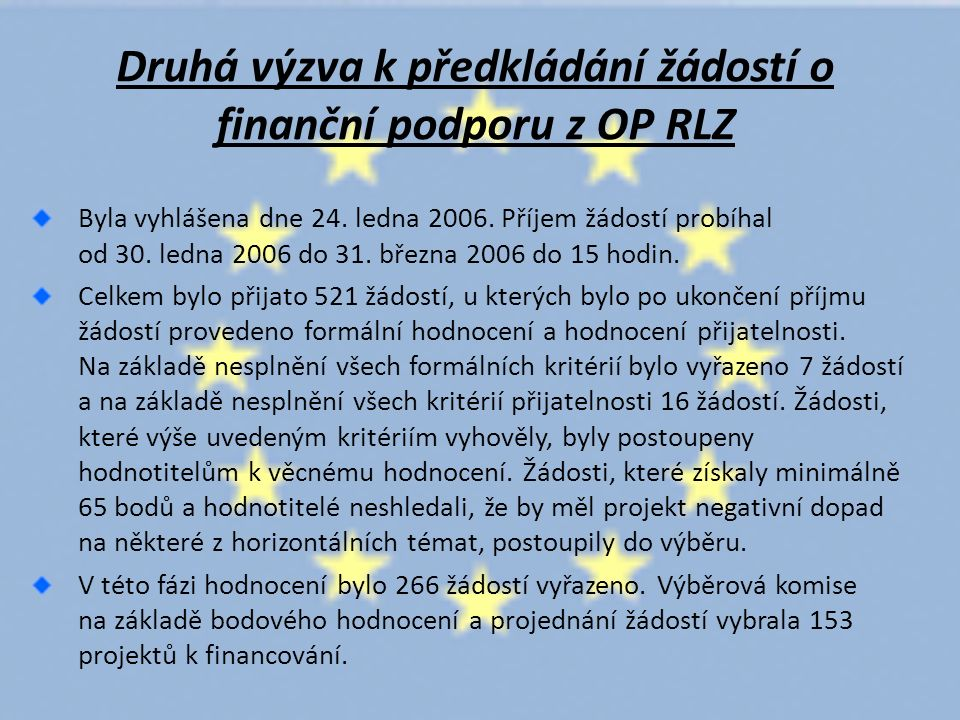 Druhá výzva k předkládání žádostí o finanční podporu z OP RLZ Byla vyhlášena dne 24.