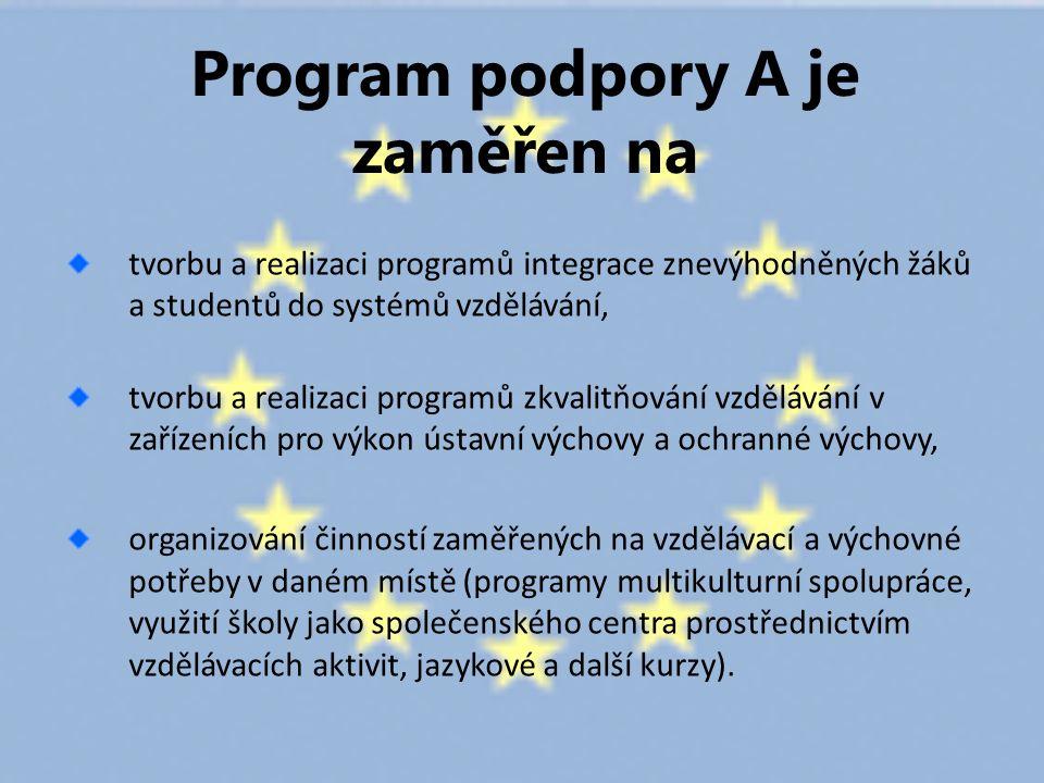 Program podpory A je zaměřen na tvorbu a realizaci programů integrace znevýhodněných žáků a studentů do systémů vzdělávání, tvorbu a realizaci programů zkvalitňování vzdělávání v zařízeních pro výkon ústavní výchovy a ochranné výchovy, organizování činností zaměřených na vzdělávací a výchovné potřeby v daném místě (programy multikulturní spolupráce, využití školy jako společenského centra prostřednictvím vzdělávacích aktivit, jazykové a další kurzy).