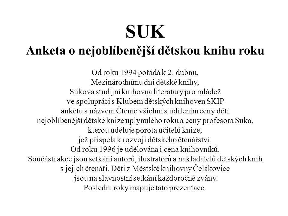 SUK Anketa o nejoblíbenější dětskou knihu roku Od roku 1994 pořádá k 2.