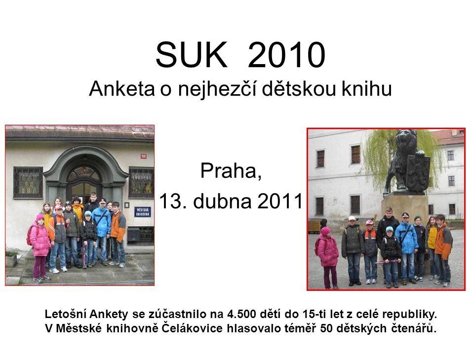 SUK 2010 Anketa o nejhezčí dětskou knihu Praha, 13. dubna 2011 Letošní Ankety se zúčastnilo na 4.500 dětí do 15-ti let z celé republiky. V Městské kni