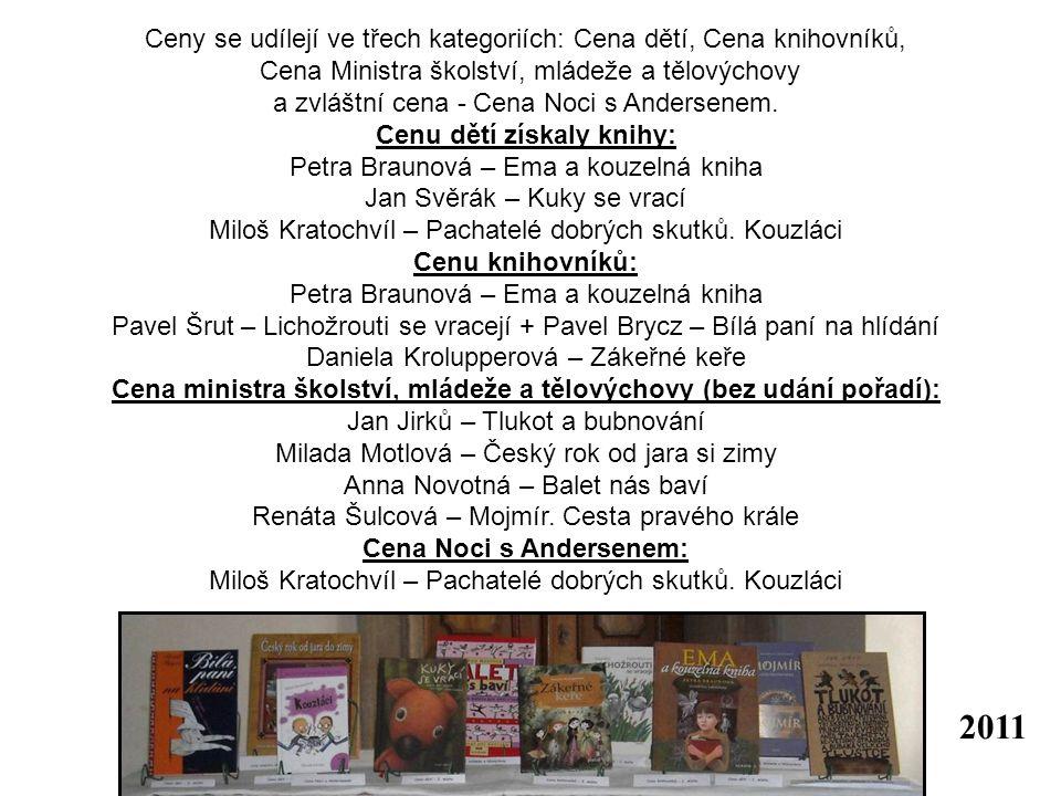 Ceny se udílejí ve třech kategoriích: Cena dětí, Cena knihovníků, Cena Ministra školství, mládeže a tělovýchovy a zvláštní cena - Cena Noci s Andersenem.