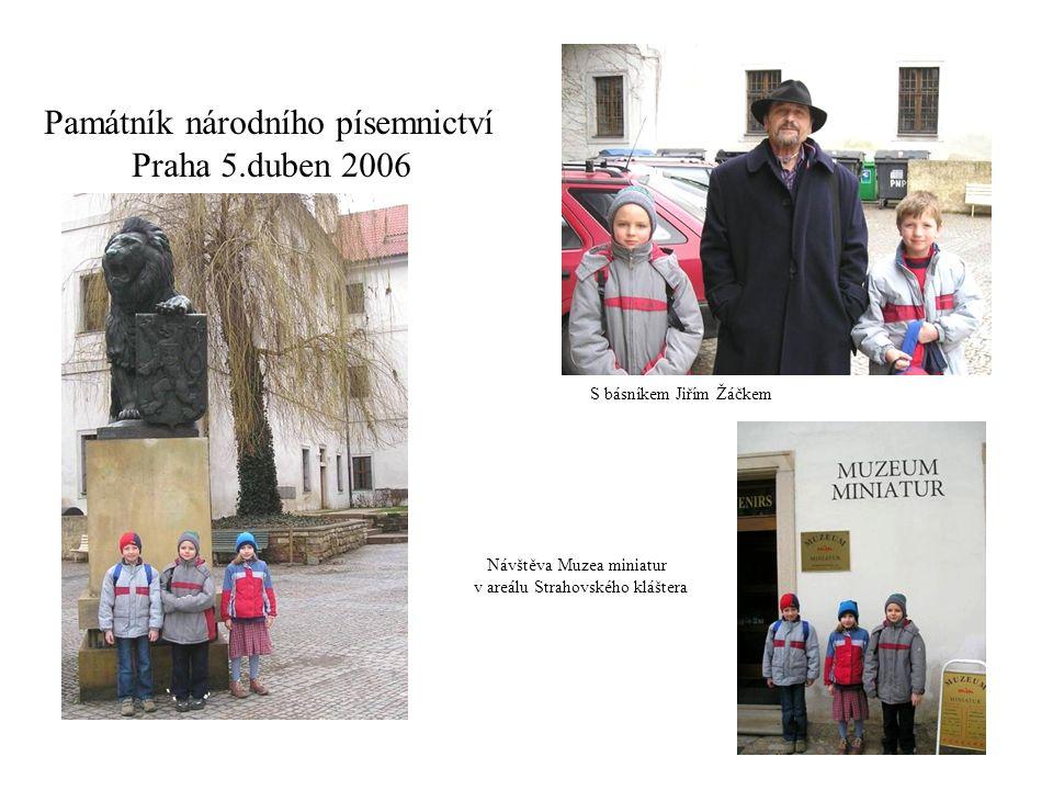 Památník národního písemnictví Praha 5.duben 2006 S básníkem Jiřím Žáčkem Návštěva Muzea miniatur v areálu Strahovského kláštera