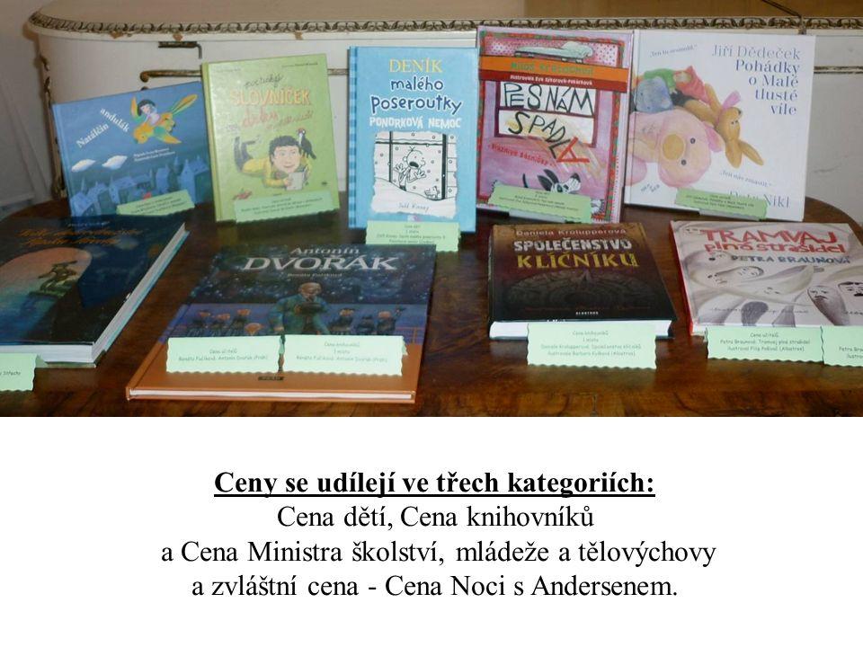 Ceny se udílejí ve třech kategoriích: Cena dětí, Cena knihovníků a Cena Ministra školství, mládeže a tělovýchovy a zvláštní cena - Cena Noci s Anderse