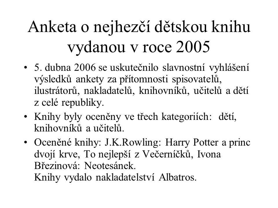 Anketa o nejhezčí dětskou knihu vydanou v roce 2005 5. dubna 2006 se uskutečnilo slavnostní vyhlášení výsledků ankety za přítomnosti spisovatelů, ilus
