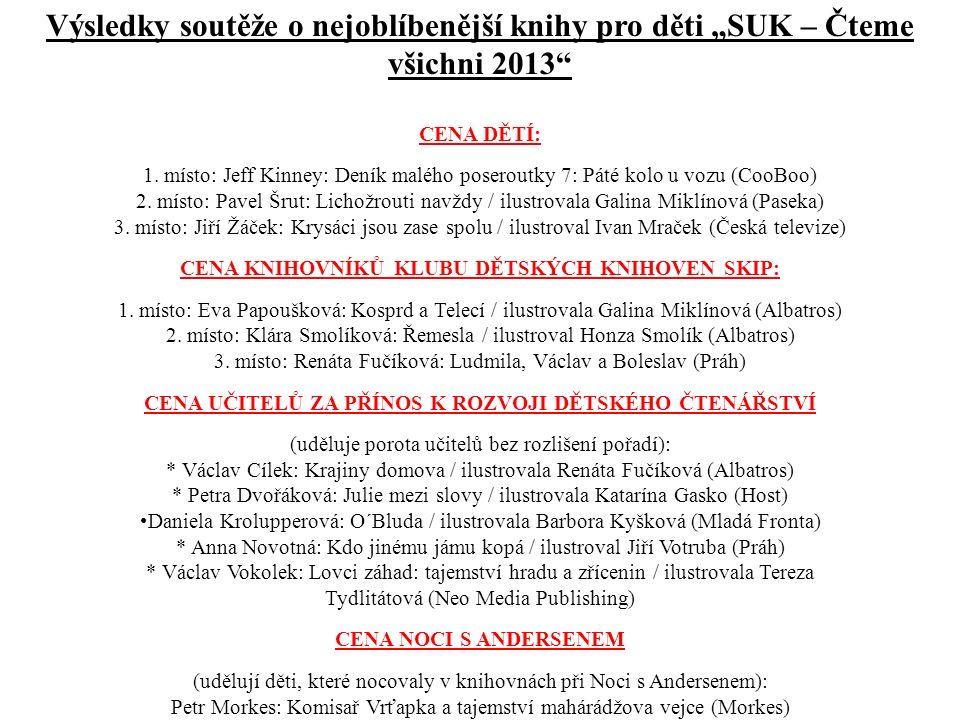 """Výsledky soutěže o nejoblíbenější knihy pro děti """"SUK – Čteme všichni 2013"""" CENA DĚTÍ: 1. místo: Jeff Kinney: Deník malého poseroutky 7: Páté kolo u v"""