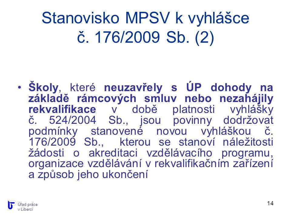 14 Stanovisko MPSV k vyhlášce č. 176/2009 Sb.